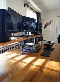 Reclaimed Wood Studio Desk -- Great details for using reclaimed wood as the desktop