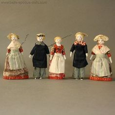 Antique dolls house dolls , Antique Dollhouse miniature theater dolls , Puppenstuben theaterpuppen