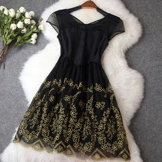 Vintage Embroidery Organza Dress MG Funky Dresses, Nice Dresses, Casual Dresses, Formal Dresses, Best Prom Dresses, Cheap Prom Dresses, Homecoming Dresses, Embroidery Dress, Vintage Embroidery