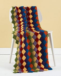 "Tunisian crochet entrelac throw, free pattern by Lion Brand Yarn.  Entrelac technique is *easy*, don't let it scare you :-)  This 58""x40"" throw uses 2,720 yds of WW yarn & a regular size N hook.  . . . .   ღTrish W ~ http://www.pinterest.com/trishw/  . . . .  #afghan #blanket"