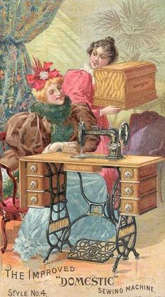 Domestic Sewing Machine trading card, late 1800s, shows a treadle machine with a coffin top cover.