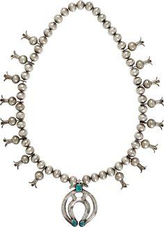Ожерелье Squash Blossom - цветок тыквы  серебро, бирюза; длина 44 см начало 20 века, индейцы навахо