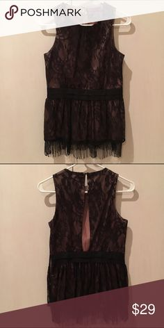 Lace and Fringe Top Classy in the front, sexy in the back! 🙏🏼 Black over nude lace top with synched waist and fringe trimming. Back is open with button closure. Tops Blouses