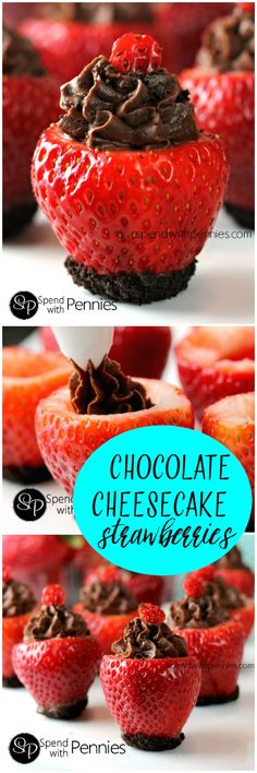 Chocolate Cheesecake Stuffed Strawberries