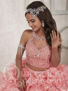 Buy ball gown for quinceanera, birthday party, sweet 16 with cheap price. Coral Two Piece Jewel Keyhole Organza Beaded Quinceanera Dress, Sweet 16 Ruffles Ball Gown on sale. Ball Gowns Prom, Party Gowns, Ball Dresses, Pageant Gowns, Prom Party, Dresses Dresses, Party Dress, Fashion Dresses, Sweet 15 Dresses