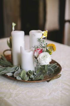 pillar candle centerpieces // photo by Love Me Do Photography // http://ruffledblog.com/handmade-new-jersey-wedding