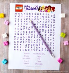 Free Printable LEGO Friends Word Search at artsyfartsymama. Lego Friends Party Games, Girls Lego Party, Lego Party Games, Lego Friends Birthday, Lego Parties, Lego Friends Cake, Birthday Party Tables, 8th Birthday, Childrens Party