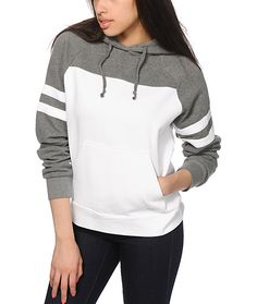 "A grey and white colorblock design is accented with an ""Obey 89"" graphic at the back for an athletic inspired look, while the thick fleece construction offers a comfortable wear."