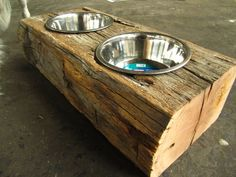 This dog bowl holder is made from a unique cut-off of an actual vintage barn beam. This piece of oak has been cut by hand hundreds of years ago. The ends have been trimmed and sanded flat to expose the tight end grain and the top has been hollowed out to hold these stainless-steel dog dishes. Your best friend can now eat with style and in a comfortable position. Dont buy these expecting much outward gratitude from your beast, they will probably just sniff them and walk away..but you know…