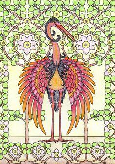 Een kleurplaat van Dover publications. Nu ben ik begonnen met de achtergrond en heb later de vogel fel aangezet.