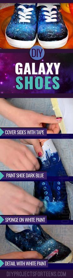 Super manualidades para los adolescentes a tomar - Idea divertida DIY para los zapatos Galaxy - Los adolescentes y preadolescentes encanta este proyecto del arte impresionante
