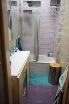 Ванная с душевой, бирюзовая ванная комната