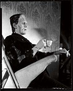 Boris Karloff as Frankenstein resting between takes of Bride of Frankenstein, Universal 1935