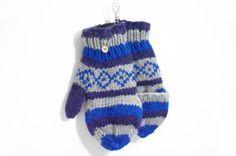 限量一件手織純羊毛保暖手套 / 可拆卸手套 - 藍色幾何圖騰