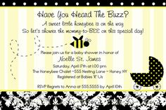 Mommy-to-BEE Bumble bee Themed Baby Shower - wording idea