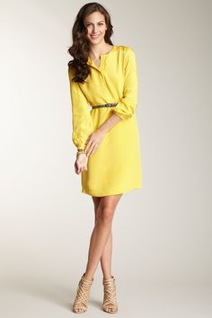 Yellow belted silk dress for work and dates