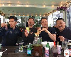 "- Robert Downey Jr. (@robertdowneyjr) on Instagram: ""Forks, tongs, cans + bottles + a Wong... Help us #healthenet #afeastoffriends #Avengers…"""