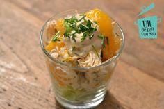 Kipcocktail met mandarijntjes - Uit de pan van San Tapas, Good Healthy Recipes, Healthy Snacks, Buffet, Snacks Für Party, Entree Recipes, Appetisers, Special Recipes, High Tea