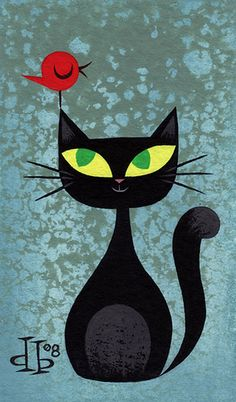 Illustration by Drake Brodah.this would make a fab cat quilt Art Fantaisiste, Black Cat Art, Black Cats, Image Chat, Illustration Art, Illustrations, Cat Quilt, Cat Drawing, Whimsical Art