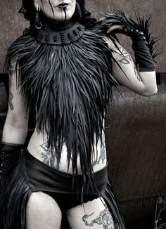 """misanthropicxmessiah: """" Rubber Feather Neckpiece by NiKiNGA on etsy """" Post Apocalyptic Costume, Post Apocalyptic Fashion, Steampunk Characters, Dope Fashion, Fashion Photo, Post Apocalypse, Feather, Hair Styles, Etsy"""