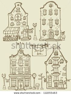 Drawing Doodles Sketches Hand drawn old houses, old town, sketch, doodles, isolated - stock vector - Doodle Sketch, Doodle Drawings, Doodle Art, Town Drawing, House Drawing, Drawing Drawing, House Doodle, Doodles, House Sketch