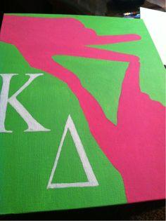 anchorsandsunshine: One of my Kappa Delta paintings :) GreekGirlSigns @ Etsy! with chi o though Kappa Delta Canvas, Kappa Delta Crafts, Kappa Delta Sorority, Sorority Sugar, Tri Delta, Alpha Sigma Alpha, Sorority Crafts, Delta Zeta, Sorority Life