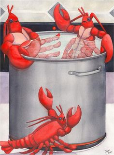 Lobster Spa Painting by Catherine G McElroy - Lobster Spa Fine Art Prints and Posters for Sale Lobster Party, Red Lobster, Seafood Shop, Horse Star, Louisiana Art, La Red, Cancer Sign, Sale Poster, Beach Art