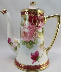 Nippon Small Tea Pot Hand Painted Pink Roses Gold Dots Pitcher Burgundy....  we usually have some Nippon in the shoppe...as I collect it!!     TeaPots n Treasures  7 East Market Street Downtown Indy 46204  317.687.8768  www.teapots4u.com  www.brainbrews.com