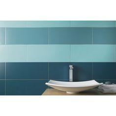 Pour les WC, idée couleur. Faïence mur bleu atoll n°3, Loft l.20 x L.50.2 cm