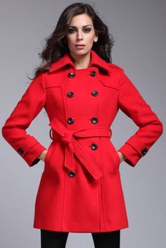 Red Long Sleeve Label Double Breasted Coat @Pascale Lemay Lemay Lemay De Groof  Repin & Follow my pins for a FOLLOWBACK!