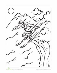 Worksheets: Extreme Skiing Coloring Page