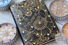 """Take notes in style for work with our creative henna bespoke notebooks. Gold henna with lime green, aqua blue rhinestones and pearls.  #notebooks #getorganised #getorganisedinstyle #today #scraapbook #notes #notepad #henna #hennaart #mehndi #pearls #rhinestones #moheenipaul #moheenipauldesigns #organise #organiser #planner #diary #journal #journalism #eventplanner #weddingstationery #weddingplanner #instaartist #love #followback"" by @moheenipauldesigns.  #bride #weddingday #weddingdress…"