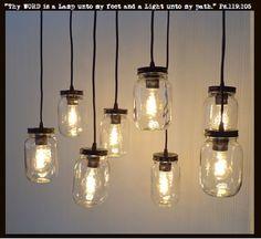 Mason Jar 8-Light Pendant Chandelier New Quart Clear