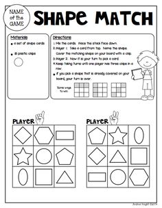 """Sample Math Game from """"Math Games for Kinder Partners"""" {20 Reproducible and Reusable Partner Games for Math Workshop, Centers, and/or Homework Fun with a Parent} 36 pages, $ #mathgames #shapes"""