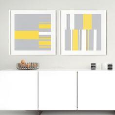 Mosaic Single 1 and Mosaic Single 2 by Menega Sabidussi | Irregular, geometric, minimal abstracts in yellow, gray, white and orange for modern, minimalistic interiors. #art #wallart #artprint #scandi #scandinavian