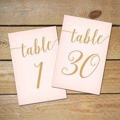 Blush Pink Table Numbers 1-30 DIY Printable by MyCrayonsDesign