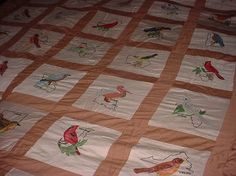 Birds of a feather embroidery Vintage State Bird by moonbeam0999, $79.00