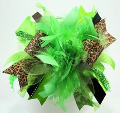 Leopard Lime Green and Bling Over the Top Hair Bow by sanchezc30, $19.99