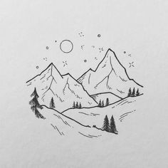 Night mountains Drawing Tips mountain drawing Mini Drawings, Cute Easy Drawings, Cool Art Drawings, Pencil Art Drawings, Art Drawings Sketches, Doodle Drawings, Tattoo Drawings Tumblr, Easy Nature Drawings, White Board Drawings