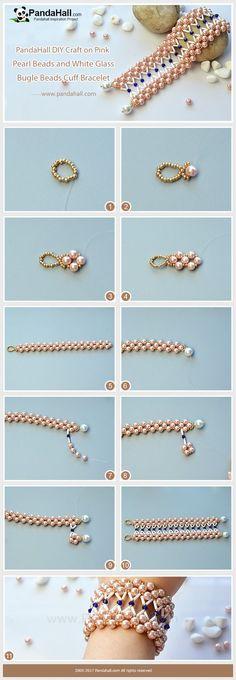 #Beebeecraft tutorials on Making #PinkPearl Beads and White Glass #BugleBeads #CuffBracelet