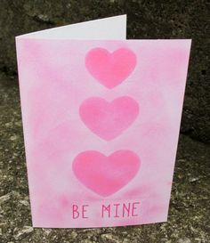 Be Mine Handmade Pink Hearts Valentine's Card, Gender Neutral by GladTidingsCardCo on Etsy