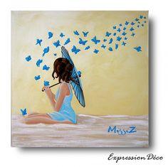Tableau  Les papillons bleus 40x40 cm  85 € Art Vintage, Bedtime Stories, Decoration, Childrens Books, Book Art, Decoupage, Appreciation, Etsy, Drawings