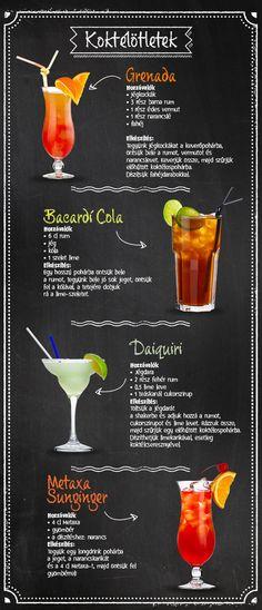 Sok mindenért szeretjük a nyarat, az egyik ezek közül, hogy a meleg estéken isteni koktélokat kortyolhatunk. Ha nincs kedved kimozdulni, készítsd el otthon kedvenceidet! #TescoMagyarország #koktél #koktel #ötlet #ital #tesco #tescomagyarorszag #sunginger #grenada #bacardicola #daiquiri Wine Drinks, Cocktail Drinks, Cocktail Recipes, Beer Recipes, Drinks Alcohol Recipes, Alcholic Drinks, Whisky Bar, Summer Drinks, Food Hacks