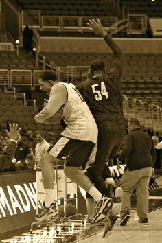 Juan Anderson and Davante Gardner keep it light during today's shoot-around.