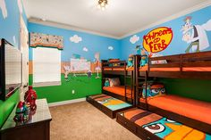 Reunion Resort 454 is home to this fantastic Disney Phineas and Ferb room! Jam-packed with bright colours and surrounded by the characters, its a place kids will thrive in.