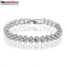 LZESHINE Unique Wedding Engagement Bracelet Jewelry AAA Clear Color Cubic Zirconia Women Bracelets & Bangles CBR0002-B