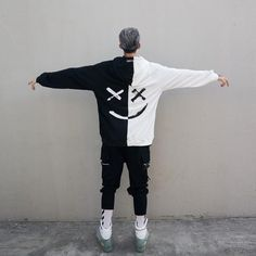 Dropshipping Suppliers Usa Men Hoodie Sweatshirts Smile Print Headwear Hoodie Hip Hop Streetwear Clothes Off White Red for Women Outfits Hipster, Urban Outfits, Mode Outfits, Grunge Outfits, Cowboy Outfits, Urban Dresses, Urban Apparel, Men's Apparel, Hoodie Sweatshirts
