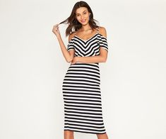 Oasis, SHORT STRIPE MIDI Multi Blue 1