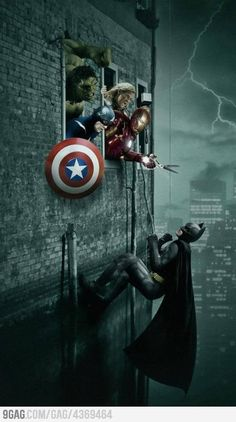 """Box Office Fight - the nerd in me goes """"eh, would never happen. The Avengers are Marvel an Barman's DC. Marvel Comics, Marvel Dc, Marvel Heroes, Marvel Characters, Batgirl, Catwoman, Two Worlds, Die Rächer, Univers Marvel"""
