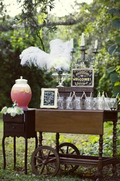 Fanciful drink cart.